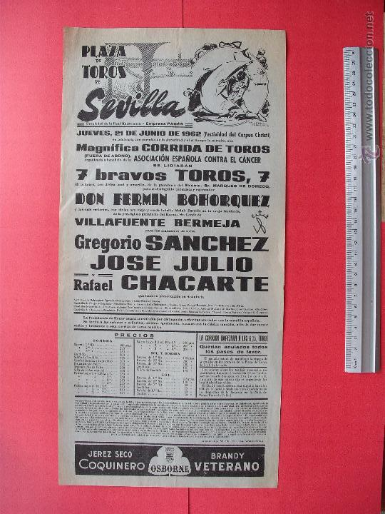 CARTEL PROGRAMACION - PLAZA DE TOROS DE SEVILLA 1962 (Coleccionismo - Carteles Gran Formato - Carteles Toros)