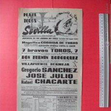 Carteles Toros: CARTEL PROGRAMACION - PLAZA DE TOROS DE SEVILLA 1962. Lote 51671852