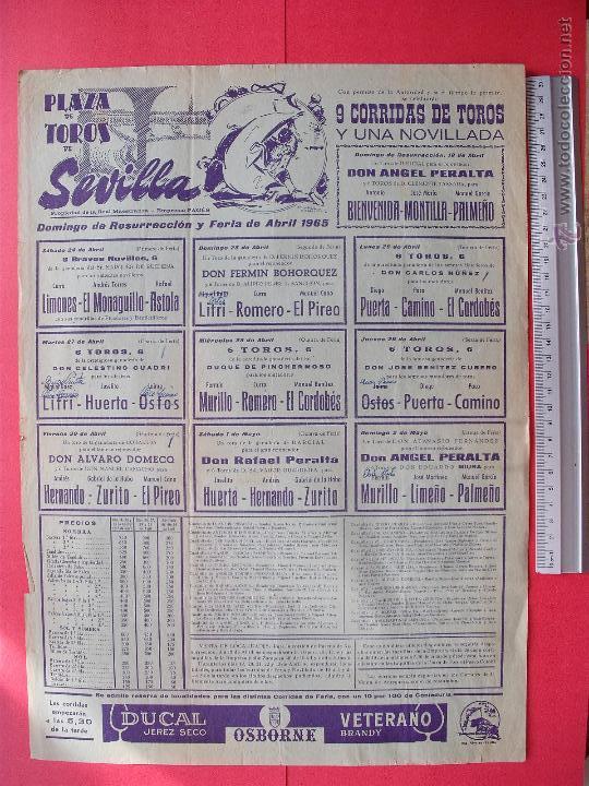 CARTEL PROGRAMACION - PLAZA DE TOROS DE SEVILLA 1965 (Coleccionismo - Carteles Gran Formato - Carteles Toros)