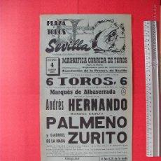 Carteles Toros: CARTEL PROGRAMACION - PLAZA DE TOROS DE SEVILLA 1966. Lote 51672717