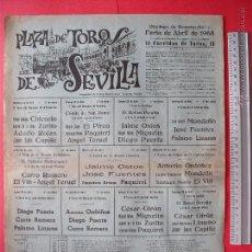 Carteles Toros: CARTEL PROGRAMACION - PLAZA DE TOROS DE SEVILLA 1968. Lote 51673408