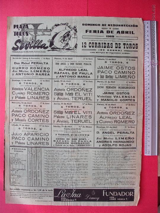 CARTEL PROGRAMACION - PLAZA DE TOROS DE SEVILLA 1969 (Coleccionismo - Carteles Gran Formato - Carteles Toros)