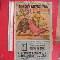 Carteles Toros: CARTEL PROGRAMACION - PLAZA DE TOROS DE ANTEQUERA 1957. Lote 51688498