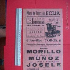 Carteles Toros: CARTEL PROGRAMACION - PLAZA DE TOROS DE ECIJA 1972. Lote 51694381