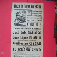 Carteles Toros: CARTEL PROGRAMACION - PLAZA DE TOROS DE ECIJA 1969. Lote 51705893