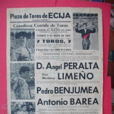 Carteles Toros: CARTEL PROGRAMACION - PLAZA DE TOROS DE ECIJA 1969. Lote 51706451