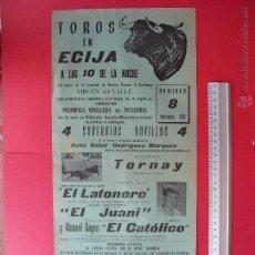Carteles Toros: CARTEL PROGRAMACION - PLAZA DE TOROS DE ECIJA 1968. Lote 51713848