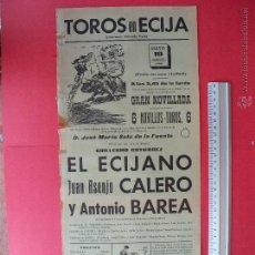 Carteles Toros: CARTEL PROGRAMACION - PLAZA DE TOROS DE ECIJA 1968. Lote 51714077