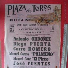Carteles Toros: CARTEL PROGRAMACION - PLAZA DE TOROS DE ECIJA 1968. Lote 51715251