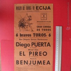Carteles Toros: CARTEL PROGRAMACION - PLAZA DE TOROS DE ECIJA 1967. Lote 51715970