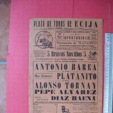 Carteles Toros: CARTEL PROGRAMACION - PLAZA DE TOROS DE ECIJA 1965. Lote 51726874