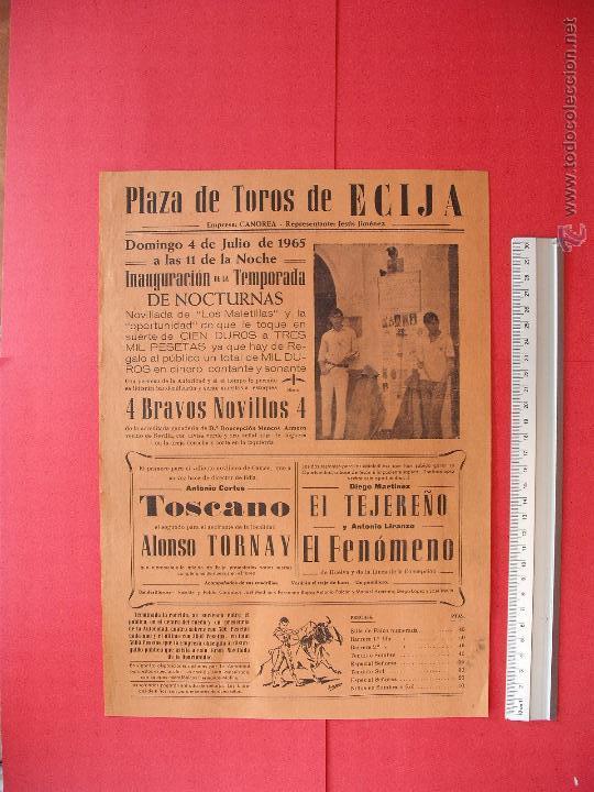 CARTEL PROGRAMACION - PLAZA DE TOROS DE ECIJA 1965 (Coleccionismo - Carteles Gran Formato - Carteles Toros)