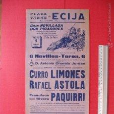 Carteles Toros: CARTEL PROGRAMACION - PLAZA DE TOROS DE ECIJA 1965. Lote 51727181