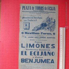 Carteles Toros: CARTEL PROGRAMACION - PLAZA DE TOROS DE ECIJA 1965. Lote 51727304