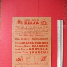 Carteles Toros: CARTEL PROGRAMACION - PLAZA DE TOROS DE ECIJA 1965. Lote 51727549