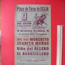 Carteles Toros: CARTEL PROGRAMACION - PLAZA DE TOROS DE ECIJA 1962. Lote 51730313