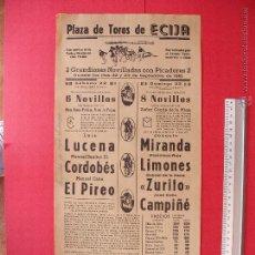 Carteles Toros: CARTEL PROGRAMACION - PLAZA DE TOROS DE ECIJA 1962. Lote 51740514