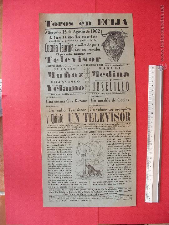CARTEL PROGRAMACION - PLAZA DE TOROS DE ECIJA 1962 (Coleccionismo - Carteles Gran Formato - Carteles Toros)