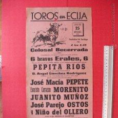 Carteles Toros: CARTEL PROGRAMACION - PLAZA DE TOROS DE ECIJA 1962. Lote 51740956