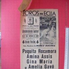 Carteles Toros: CARTEL PROGRAMACION - PLAZA DE TOROS DE ECIJA 1961. Lote 51741989