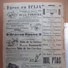 Carteles Toros: CARTEL TAURINO -PLAZA DE TOROS DE ECIJA- 1958. Lote 52128694