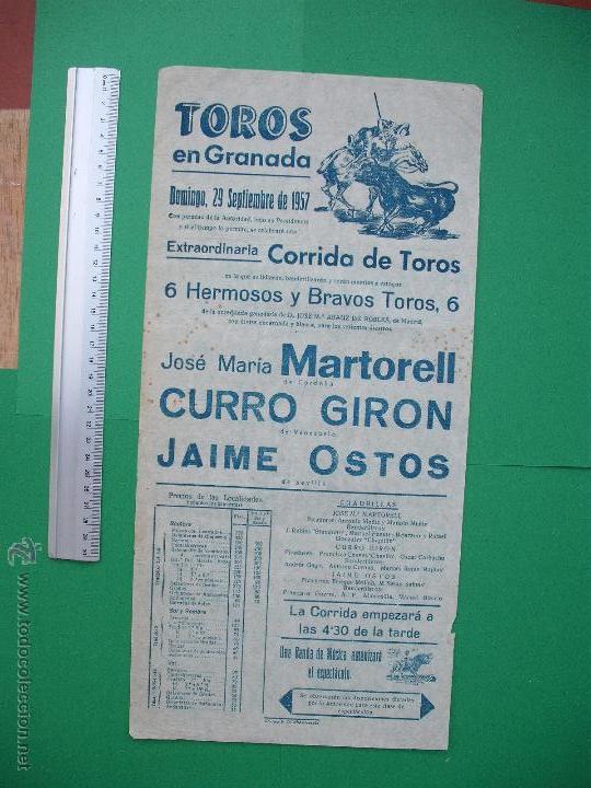 CARTEL TAURINO -PLAZA DE TOROS DE GRANADA - 1957 (Coleccionismo - Carteles Gran Formato - Carteles Toros)