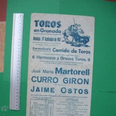 Carteles Toros: CARTEL TAURINO -PLAZA DE TOROS DE GRANADA - 1957. Lote 52162174