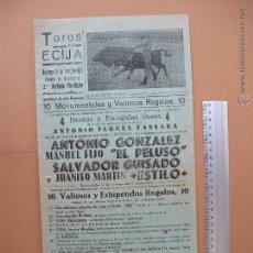 Carteles Toros: CARTEL PROGRAMACION - PLAZA DE TOROS DE ECIJA 1957. Lote 52308284