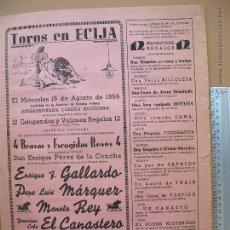 Carteles Toros: CARTEL PROGRAMACION - PLAZA DE TOROS DE ECIJA 1956. Lote 52308386