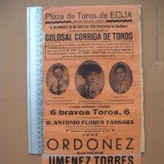 Carteles Toros: CARTEL PROGRAMACION - PLAZA DE TOROS DE ECIJA 1956. Lote 52313561