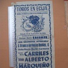 Carteles Toros: CARTEL PROGRAMACION - PLAZA DE TOROS DE ECIJA 1956. Lote 52313814