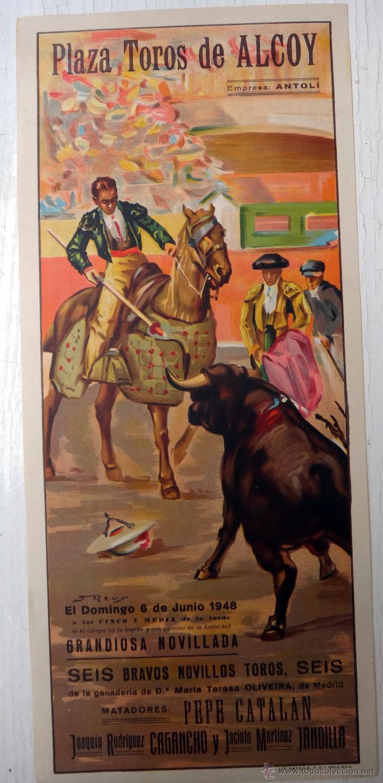 CARTEL TOROS , ALCOY ALICANTE , 1948 , J. REUS , ORIGINAL , A1 (Coleccionismo - Carteles Gran Formato - Carteles Toros)