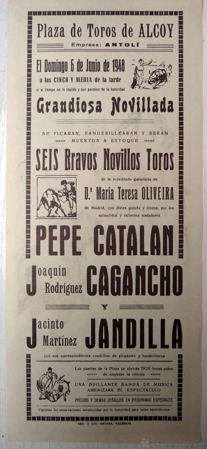 Carteles Toros: CARTEL TOROS , ALCOY ALICANTE , 1948 , J. REUS , ORIGINAL , A1 - Foto 2 - 52325239