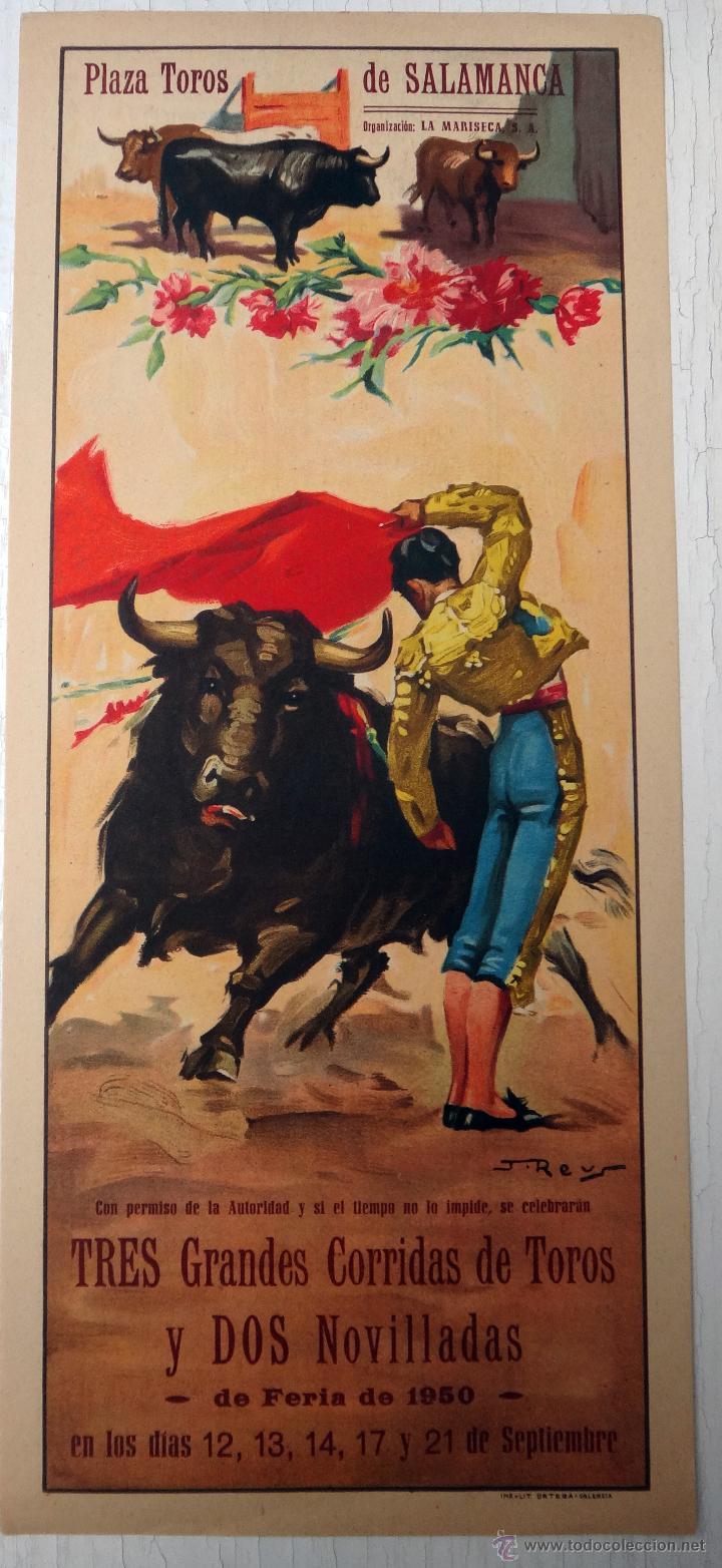 CARTEL TOROS , SALAMANCA , FERIA 1950 , J. REUS , ORIGINAL , A1 (Coleccionismo - Carteles Gran Formato - Carteles Toros)