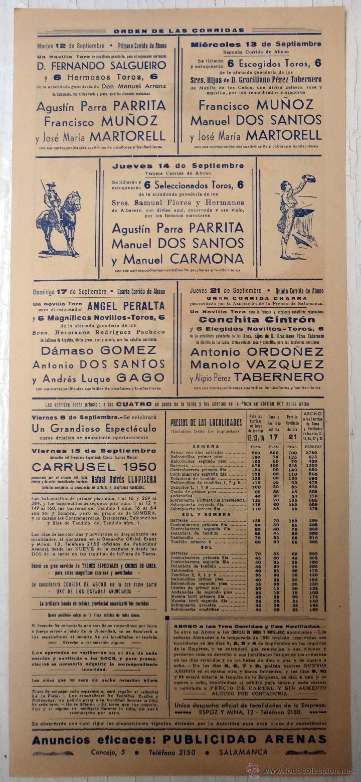 Carteles Toros: CARTEL TOROS , SALAMANCA , FERIA 1950 , J. REUS , ORIGINAL , A1 - Foto 2 - 52325336