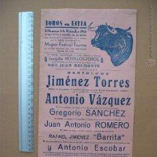 Carteles Toros: CARTEL PROGRAMACION - PLAZA DE TOROS DE ECIJA 1955. Lote 52370625