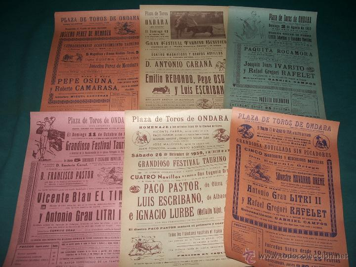 LOTE CARTELES PLAZA DE TOROS DE ONDARA. (Coleccionismo - Carteles Gran Formato - Carteles Toros)