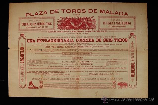 CARTEL DE TOROS DE MÁLAGA. 31 DE MAYO DE 1888. RAFAEL MOLINA LAGARTIJO Y RAFAEL BEJARANO TORERITO (Coleccionismo - Carteles Gran Formato - Carteles Toros)