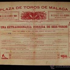 Carteles Toros: CARTEL DE TOROS DE MÁLAGA. 31 DE MAYO DE 1888. RAFAEL MOLINA LAGARTIJO Y RAFAEL BEJARANO TORERITO. Lote 52478660