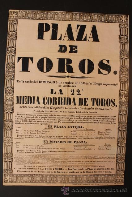 CARTEL DE TOROS DE MADRID. 5 DE OCTUBRE DE 1845. JUAN LEÓN, FRANCISCO ARJONA GUILLÉN, EL CHICLANERO (Coleccionismo - Carteles Gran Formato - Carteles Toros)