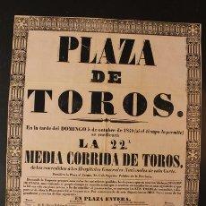 Carteles Toros: CARTEL DE TOROS DE MADRID. 5 DE OCTUBRE DE 1845. JUAN LEÓN, FRANCISCO ARJONA GUILLÉN, EL CHICLANERO. Lote 52482413