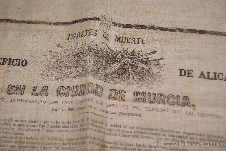CARTEL DE TOROS DE MURCIA 1870 A BENEFICIO DE ALICANTE AFECTADOS DE FIEBRE AMARILLA (Coleccionismo - Carteles Gran Formato - Carteles Toros)