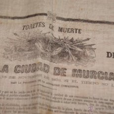 Carteles Toros: CARTEL DE TOROS DE MURCIA 1870 A BENEFICIO DE ALICANTE AFECTADOS DE FIEBRE AMARILLA. Lote 52649095