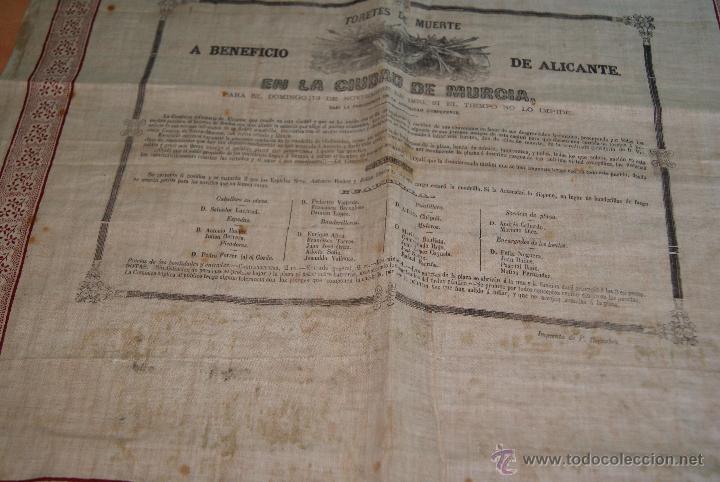 Carteles Toros: CARTEL DE TOROS DE MURCIA 1870 A BENEFICIO DE ALICANTE AFECTADOS DE FIEBRE AMARILLA - Foto 2 - 52649095