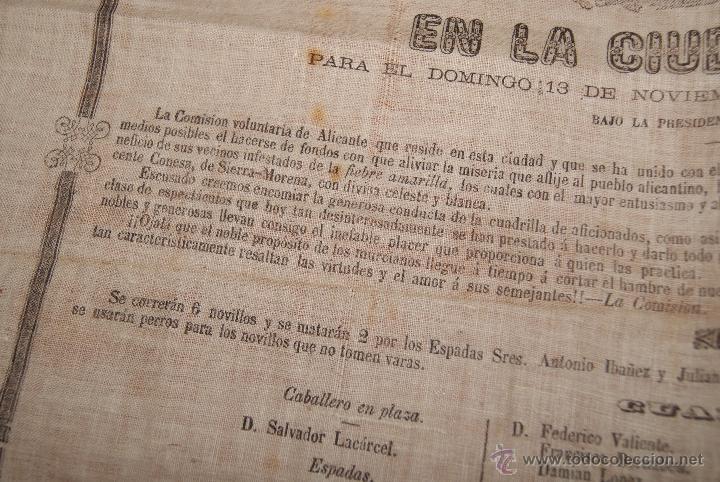 Carteles Toros: CARTEL DE TOROS DE MURCIA 1870 A BENEFICIO DE ALICANTE AFECTADOS DE FIEBRE AMARILLA - Foto 3 - 52649095