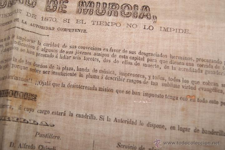Carteles Toros: CARTEL DE TOROS DE MURCIA 1870 A BENEFICIO DE ALICANTE AFECTADOS DE FIEBRE AMARILLA - Foto 4 - 52649095