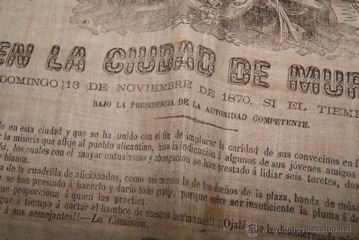Carteles Toros: CARTEL DE TOROS DE MURCIA 1870 A BENEFICIO DE ALICANTE AFECTADOS DE FIEBRE AMARILLA - Foto 8 - 52649095