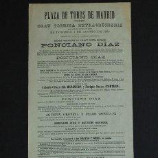 Carteles Toros: CARTEL DE TOROS DE MADRID. 4 DE AGOSTO DE 1889. EL MARINERO, TORTERO. PONCIANO DÍAZ. Lote 52803679