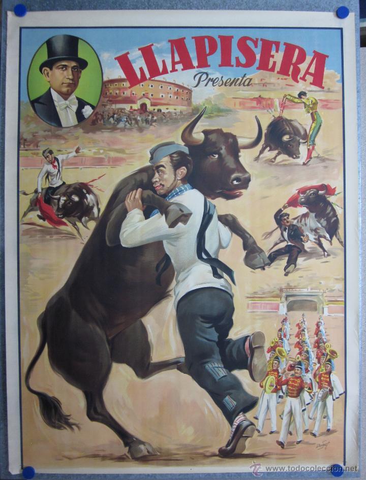 CARTEL TOROS - LLAPISERA - CANTINFLAS - ILUSTRADOR: DONAT - AÑOS 1950-60 - SIN IMPRIMIR (Coleccionismo - Carteles Gran Formato - Carteles Toros)
