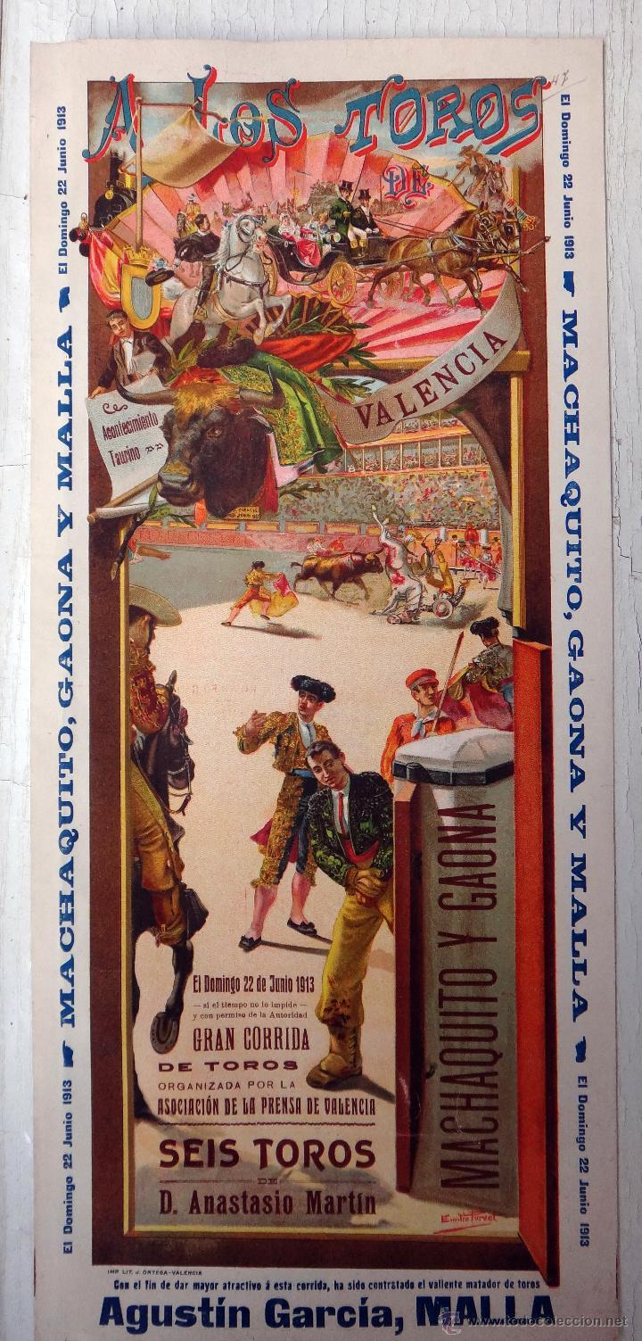 CARTEL TOROS, PLAZA VALENCIA, 1913 , COLOR, MACHAQUITO Y GAONA , ORIGINAL , X1 (Coleccionismo - Carteles Gran Formato - Carteles Toros)